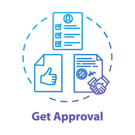 Get approval concept icon. Credit report. Legal certificate. Get loan. Official confirmation. Corporate document. Seal deal idea thin line illustration. Vector isolated outline RGB color drawing 스톡 콘텐츠 - 140754386