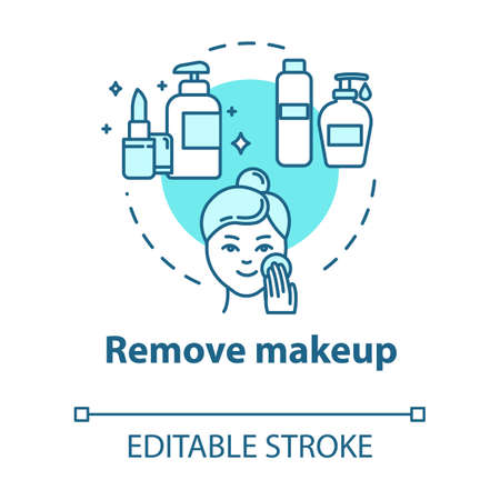 Remove makeup, skin cleansing, hygienic procedure concept icon. Face purification step, dermatology idea thin line illustration. Vector isolated outline RGB color drawing. Editable stroke