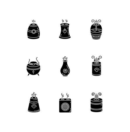 Air purifiers variety black glyph icons set on white space. Ultrasonic and steam air cleaners, climate control devices, indoors humidity regulators. Silhouette symbols. Vector isolated illustration