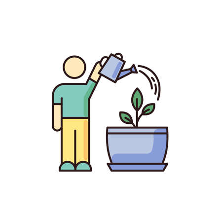 Watering sapling RGB color icon. Houseplant caring. Plant growing process. Indoor gardening. Moisturizing, rehydrating potting soil. Moistening plants. Isolated vector illustration Stock Illustratie