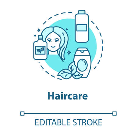 Haircare, natural cosmetic use, health and beauty concept icon. Organic shampoo and balm, hair cosmetics idea thin line illustration. Vector isolated outline RGB color drawing. Editable stroke