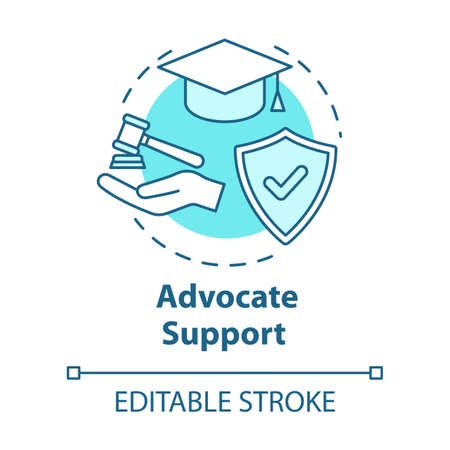 Advocate support concept icon. Legal assistance for customers. Education contract. Lawyer consultation idea thin line illustration. Vector isolated outline RGB color drawing. Editable stroke 스톡 콘텐츠 - 140795495