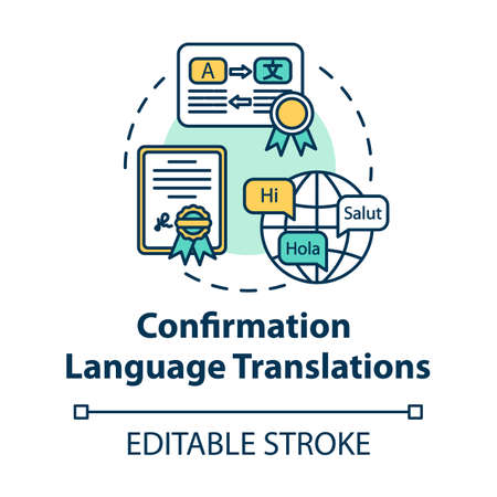 Confirmation language translations concept icon. Professional interpreter work. Legal document. Notary service idea thin line illustration. Vector isolated outline RGB color drawing. Editable stroke 스톡 콘텐츠 - 140754500