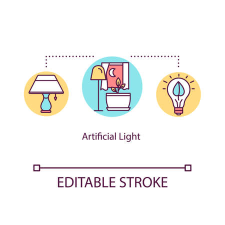 Artificial light concept icon. Illumination for plant growing. Light sources. Low lighting conditions idea thin line illustration. Vector isolated outline RGB color drawing. Editable stroke