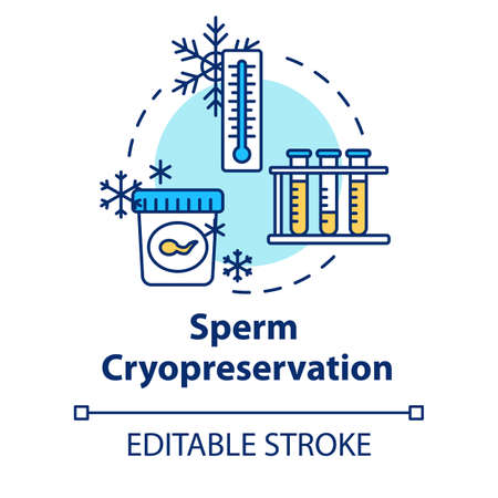 Sperm cryopreservation concept icon. Semen banking. Male donation. Biotech. Reproductive technology idea thin line illustration. Vector isolated outline RGB color drawing. Editable stroke