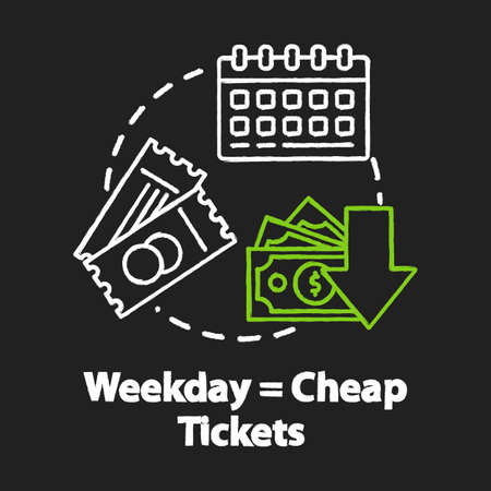 Weekday equals cheap tickets chalk RGB color concept icon. Ordering tickets in advance, budget tourism idea. Mid week travel discounts. Vector isolated chalkboard illustration on black background