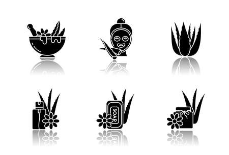 Aloe vera drop shadow black glyph icons set. Facial moisturizing mask. Spa treatment. Medicinal herbs for dermatology. Cosmetic product. Mortar, bowl. Isolated vector illustrations on white space