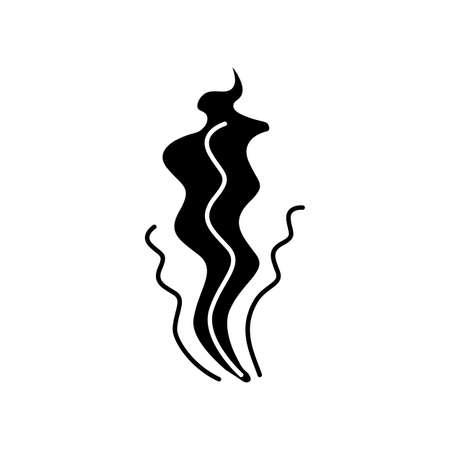 Bad smell black glyph icon. Stinky scent. Fragrance curves. Dirty air odor, emission. Smoke stream, fume swirls, evaporation malodor. Silhouette symbol on white space. Vector isolated illustration Ilustración de vector