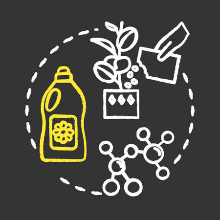 Balanced fertilizer chalk RGB color concept icon. Growing houseplants idea. Indoor flowers caring. Home gardening. Vector isolated chalkboard illustration on black background