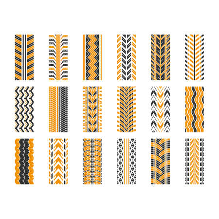 Tire tread black and yellow RGB color icons set. Detailed automobile, motorcycle, bike tyre marks. Car summer and winter wheel trace. Tire trail. Isolated vector illustrations on white background