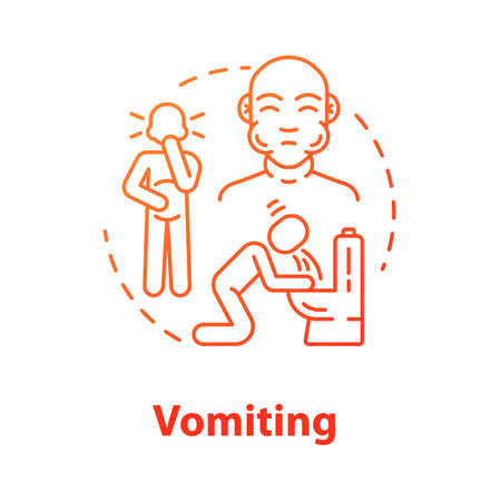 Vomiting concept icon. Pain in belly. Stomach poisoning. Puking from hangover. Gastritis and nausea. Flu symptom idea thin line illustration. Vector isolated outline RGB color drawing