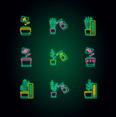 Houseplant care neon light icons set. Plant cultivation. Spraying, misting plants. Planting seeds. Air temperature conditions. Signs with outer glowing effect. Vector isolated RGB color illustrations Иллюстрация