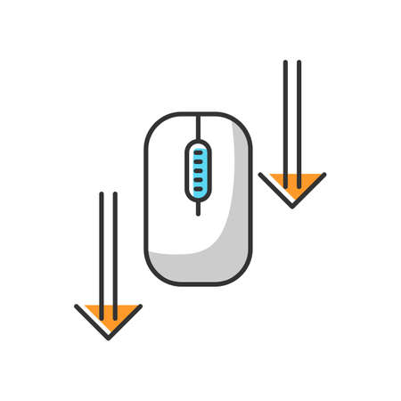 Scroll down mouse white RGB color icon. Internet page browsing arrows. Scrolldown gesture indicator. Website pointer. Web cursor. PC mouse and arrowheads. Isolated vector illustration