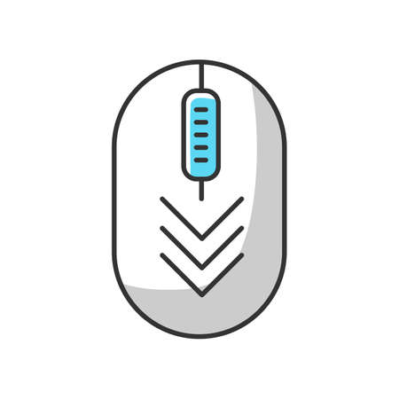Computer mouse with down arrows white RGB color icon. Scrolldown gesture indicator. PC element with three arrowheads. Website pointer. Web cursor. Isolated vector illustration