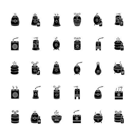 Air purifiers, diffusers black glyph icons set on white space. Humidity regulators, air cleaners, room climate control, domestic equipment. Silhouette symbols. Vector isolated illustration