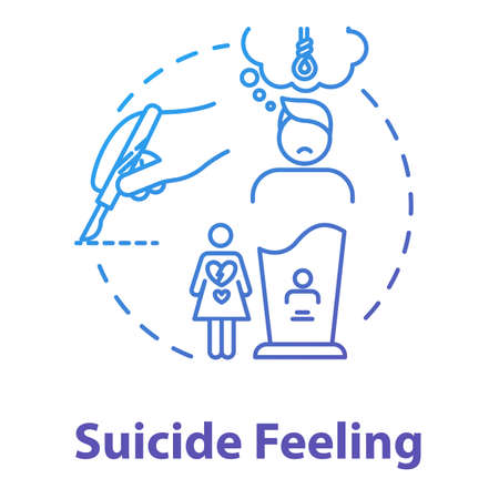 Suicide feeling concept icon. Suicidal ideation. Mental disorder, depression. Health care. Psychiatric illness idea thin line illustration. Vector isolated outline RGB color drawing