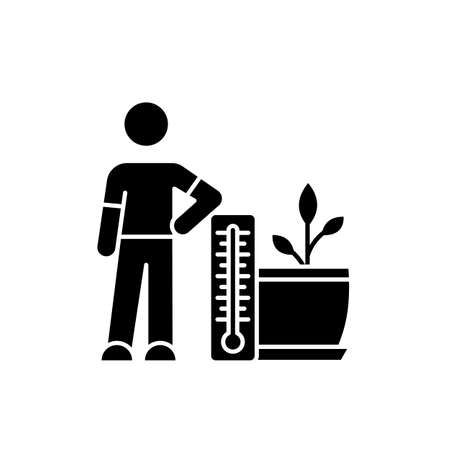 Planting temperature range black glyph icon. Providing proper air temperature conditions for plants. Planting process. Indoor gardening. Silhouette symbol on white space. Vector isolated illustration