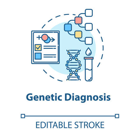 Genetic diagnosis concept icon. Scientific research. Laboratory analysis. Reproductive technology idea thin line illustration. Vector isolated outline RGB color drawing. Editable stroke