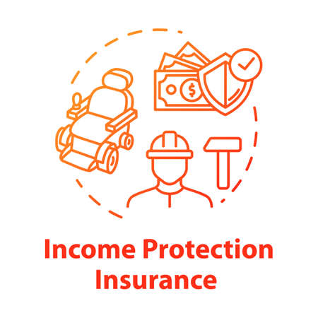 Income protection insurance concept icon. Work guarantee. Accident coverage. Personal fund. Policyholder idea thin line illustration. Vector isolated outline RGB color drawing. Editable stroke