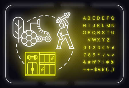 Physical goals neon light concept icon. Fit body. Sport workout. Self-development idea. Outer glowing sign with alphabet, numbers and symbols. Vector isolated RGB color illustration Imagens - 140795367