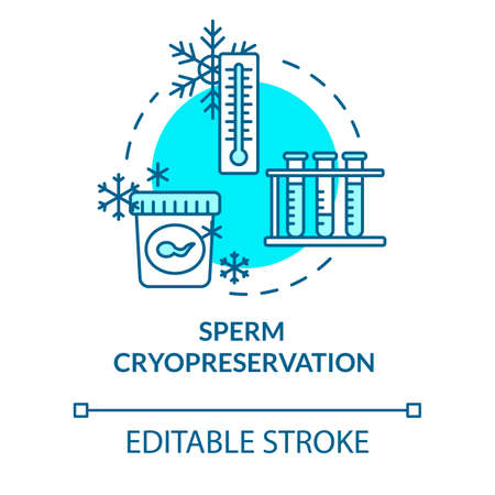 Sperm cryopreservation turquoise concept icon. Male cells donation. Biotech. Reproductive technology idea thin line illustration. Vector isolated outline RGB color drawing. Editable stroke Çizim