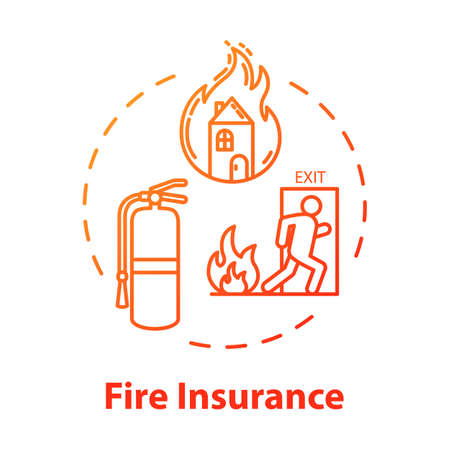 Fire insurance concept icon. Burning home. Homeowner policy. Flame destruction for real estate. House damage coverage idea thin line illustration. Vector isolated outline RGB color drawing