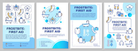 Frostbite first aid, low temperature effect brochure template. Flyer, booklet, leaflet print, cover design with linear icons. Vector layouts for magazines, annual reports, advertising posters 일러스트