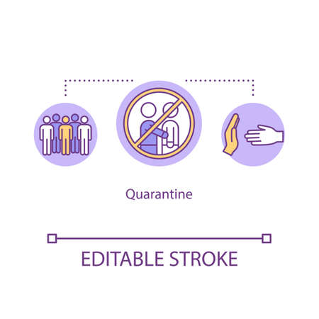 Quarantine concept icon. Contagious flu virus. Avoid contact. No human touch. Pandemic disease. Isolation idea thin line illustration. Vector isolated outline RGB color drawing. Editable stroke