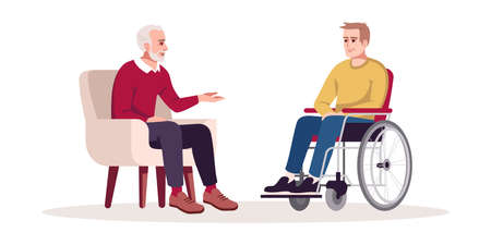 Private psychotherapy session semi flat RGB color vector illustration. Post-traumatic stress disorder. Rehabilitation, recovery period. Talk therapy. Isolated cartoon character on white background