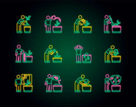 Houseplant care neon light icons set. Domestic plant cultivation. Repotting, fertilizing. Planting seeds. Watering, spraying. Signs with outer glowing effect. Vector isolated RGB color illustrations