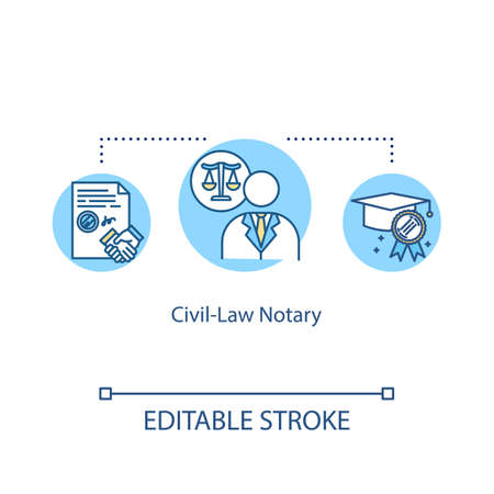 Civil-law notary concept icon. Official certificate. Barrister help. Advocate support. Notary service idea thin line illustration. Vector isolated outline RGB color drawing. Editable stroke Ilustrace