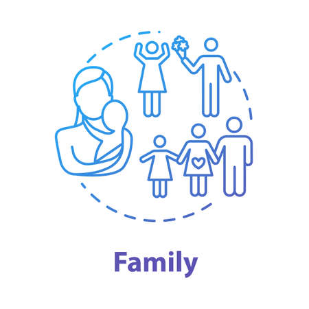 Family concept icon. Loving relationship. Marriage, motherhood. Self-building for fulfilling life. Couple planning for children idea thin line illustration. Vector isolated outline RGB color drawing
