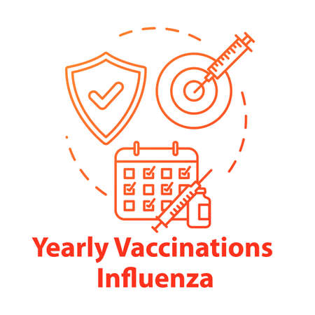 Yearly vaccination for influenza concept icon. Syringe with needle. Infection precaution. Healthcare treatment. Flu virus idea thin line illustration. Vector isolated outline RGB color drawing