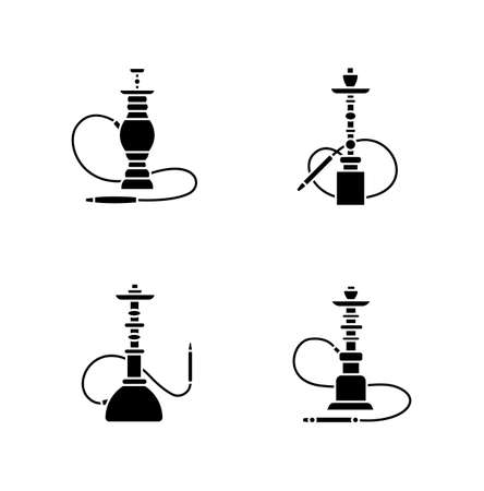 Hookah black glyph icons set on white space. Nargila option. Sheesha house. Popular souvenir. Odor from pipe. Scent of vaporizing. Smoking area. Silhouette symbols. Vector isolated illustration Vettoriali