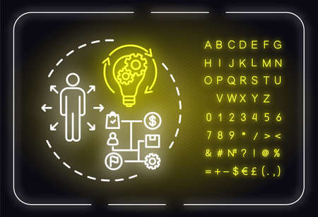 Capitalize on opportunities neon light concept icon. Succes and growth. SWOT strategy idea. Outer glowing sign with alphabet, numbers and symbols. Vector isolated RGB color illustration
