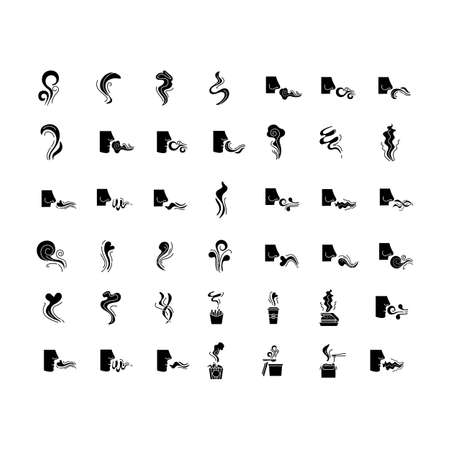Odor black glyph icons set on white space. Hot food steam, perfume odour. Human nose smelling scent. Aromatic fragrance, fluid. Smog, fume swirls. Silhouette symbols. Vector isolated illustration