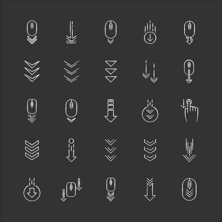 Scroll down chalk white icons set on black background. Internet page browsing and download indicators. Downward arrows. Website pointer. Web cursor. Isolated vector chalkboard illustrations
