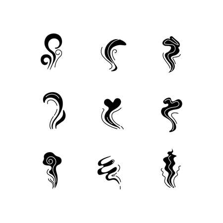 Odor black glyph icons set on white space. Good and bad smell. Heart shape nice odour, fluid, perfume scent. Stinking stench. Aromatic fragrance. Silhouette symbols. Vector isolated illustration Illustration