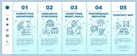 Corporate strategy onboarding vector template. Smart goals. Building business. Competitive advantages. Responsive mobile website with icons. Webpage walkthrough step screens. RGB color concept Vettoriali