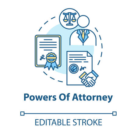 Powers of attorney concept icon. Legal representative. Seal business deal with third party. Notary service idea thin line illustration. Vector isolated outline RGB color drawing. Editable stroke
