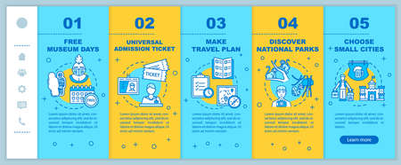 Money saving tips for travelers onboarding vector template. Affordable vacation, budget tourism. Responsive mobile website with icons. Webpage walkthrough step screens. RGB color concept