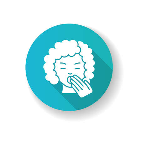 Drowsiness blue flat design long shadow glyph icon. Sleepy woman. Tired lady. Fatigue and burnout. Early symptom of pregnancy. Yawning from exhaustion. Silhouette RGB color illustration