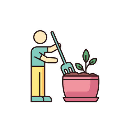 Soil fluffing RGB color icon. Plowing, ploughing earth. Houseplant care. Aeration. Plant growing, planting process. Indoor gardening. Isolated vector illustration