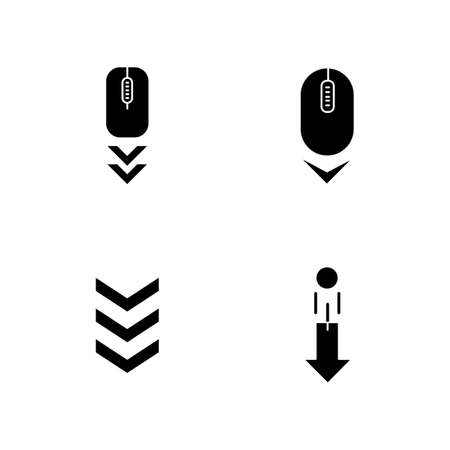 Scrolldown indicators black glyph icons set on white space. Computer mouse and arrowheads. Swipe down gesture. Website page browsing cursor. Silhouette symbols. Vector isolated illustration Çizim