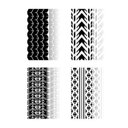 Verfolgen Sie Drucke, die schwarze Glyphensymbole mit Schlagschatten setzen. Detaillierte Auto-, Motorrad-, Fahrradreifenspuren. Auto Sommer- und Winterradspur. Fahrzeugreifenspur. Isolierte Vektorillustrationen auf weißem Raum