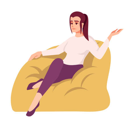 Upset woman on bag chair semi flat RGB color vector illustration. Frustrated girl in sack armchair. Therapy patient. Psychology consultation. Isolated cartoon character on white background