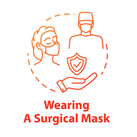 Wearing surgical mask concept icon. Doctor face protection for operation. Safety for surgeon. Influenza prevention idea thin line illustration. Vector isolated outline RGB color drawing Vector Illustration