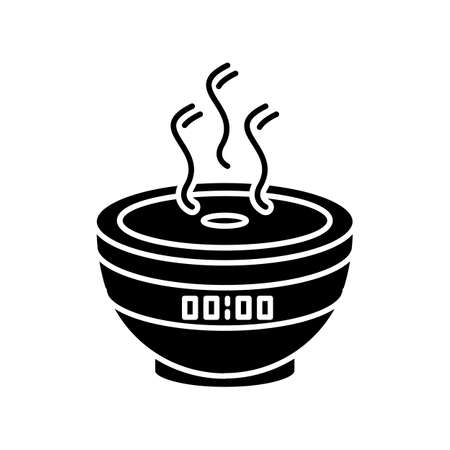 Air filter with timer, modern device black glyph icon. Humidifying household appliance, climate regulating and water spray equipment. Silhouette symbol on white space. Vector isolated illustration