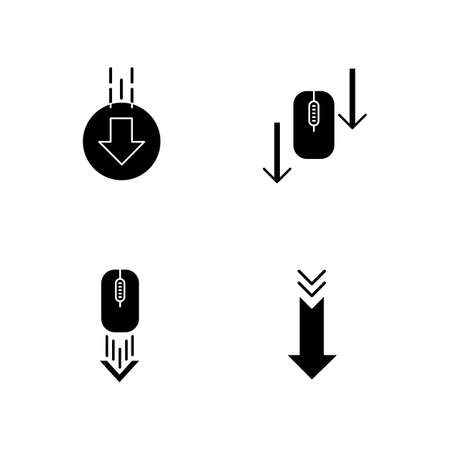 Computer mouse and arrowheads black glyph icons set on white space. Scrolling down and uploading indicators. Arrows interface navigational buttons. Silhouette symbols. Vector isolated illustration