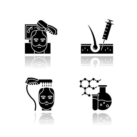 Hair loss drop shadow black glyph icons set. Laser therapy for men's thinning hair. Medical injection for alopecia. Male hair loss treatment. Dermatology. Isolated vector illustrations on white space